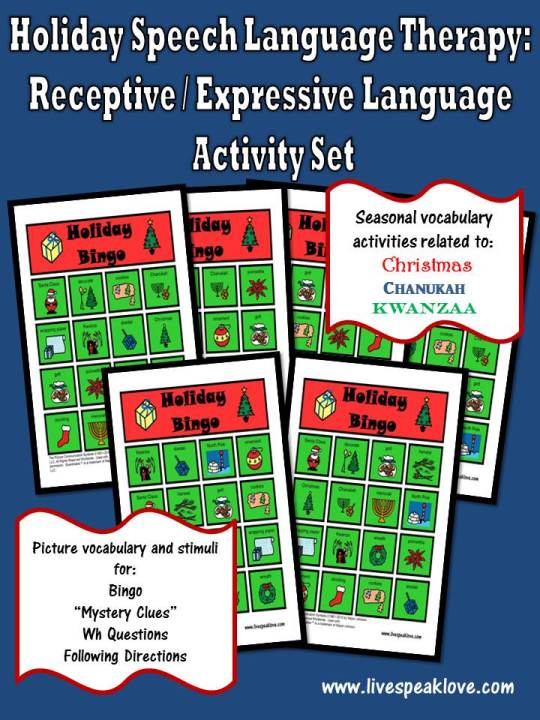 Holiday Speech Language Therapy Activity Set
