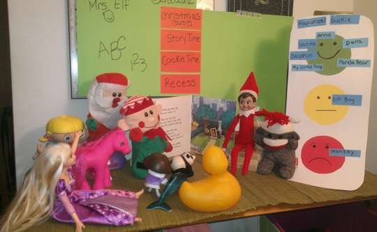 Storytime at Elf School! Complete with traffic light behavior chart (naughty monkey!)