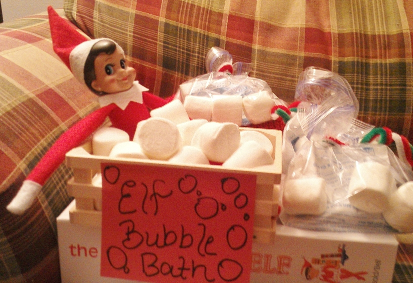 "Elf Bubble Bath! Complete with hot chocolate treats and ""Elf Bubble"" marshmallows for each child."