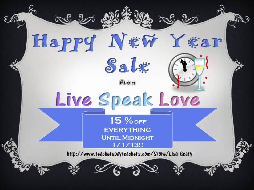 Happy New Year from LiveSpeakLove! 15% off Everything!